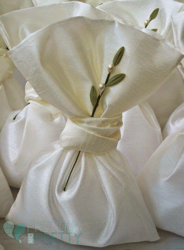 Greek wedding favors with handmade olive leaf