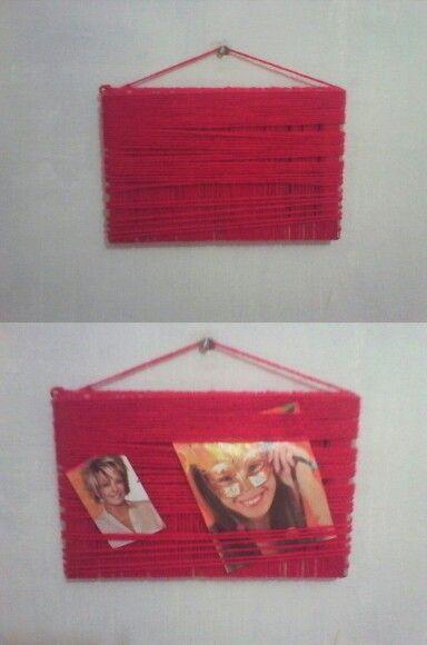 Porta retrato reciclado: feito com lã e papelão