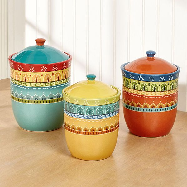 Valencia Colorful Ceramic Kitchen Canister Set Ceramic Kitchen