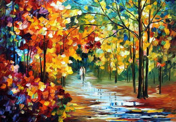 Colorful Forest  Palette Knife Autumn Wall Art by AfremovArtStudio