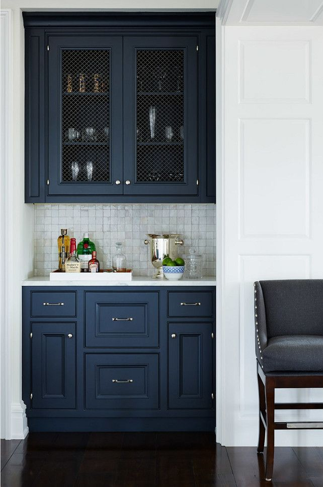 Navy cabinets.