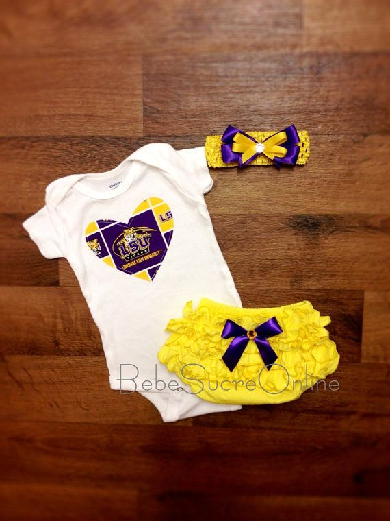 LSU Outfit and Headband by BebeSucreOnline on Etsy, $35.00