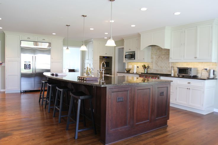Superb Triple White Glass Funnel Pendant Lamps Over Brown Polished Wooden Large Kitchen Island With Granite Top Combined White Cabinets Set Added Simple Dark Stool On Wood Floors In Open Luxury Kitchen Designs