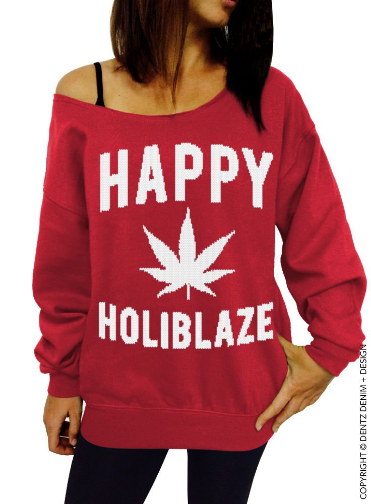 Happy Holiblaze - Red/White Slouchy Sweatshirt - Christmas 420 Holiday Sweater
