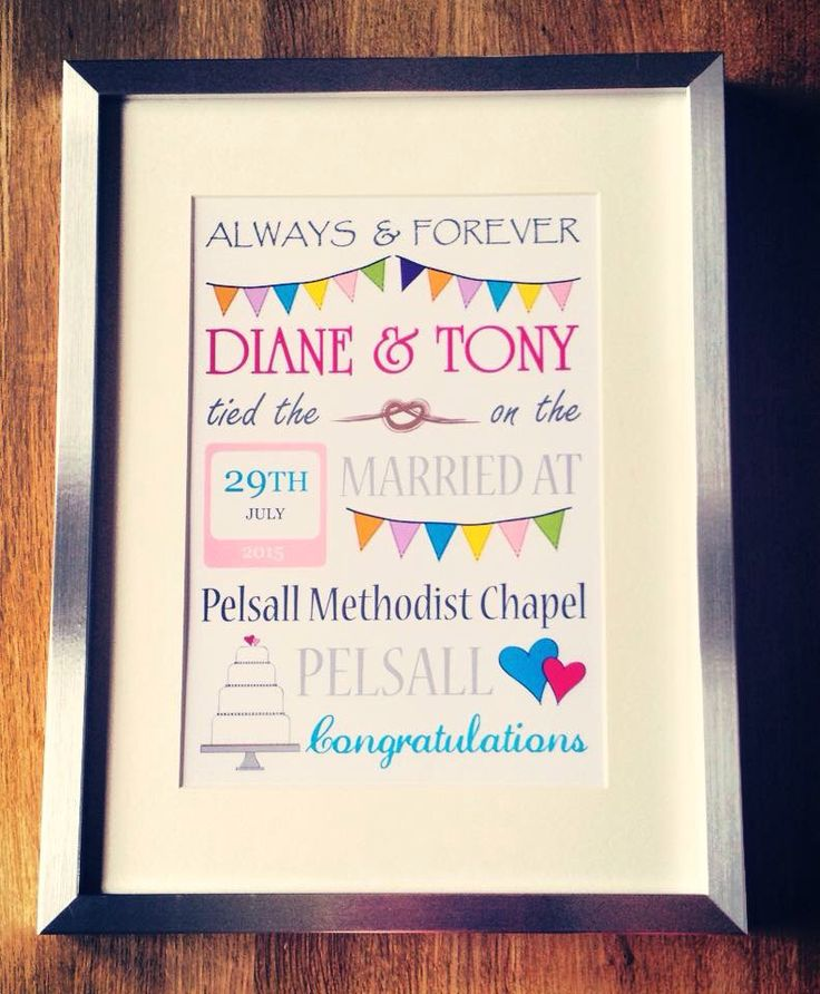 Framed personalised wedding day print