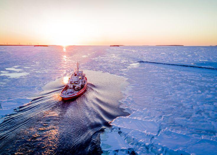 Icebreaker in the sunrise