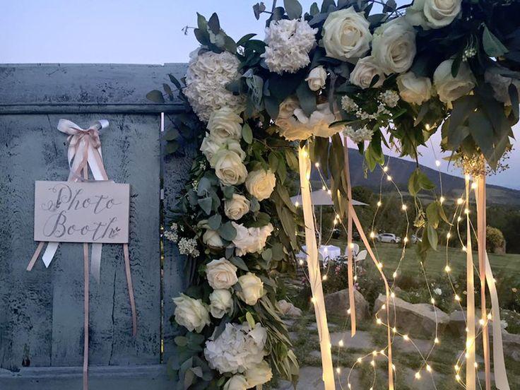 vintage door + flowers and fairy lights