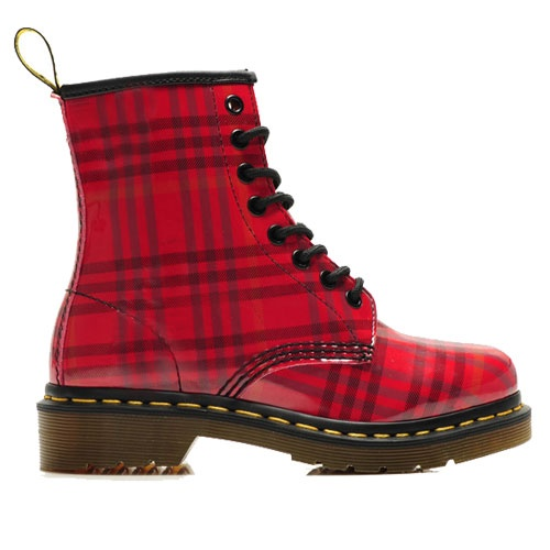 Dr.Martens Boots 1460 Black and Red Grid Patent Lamper $125.00