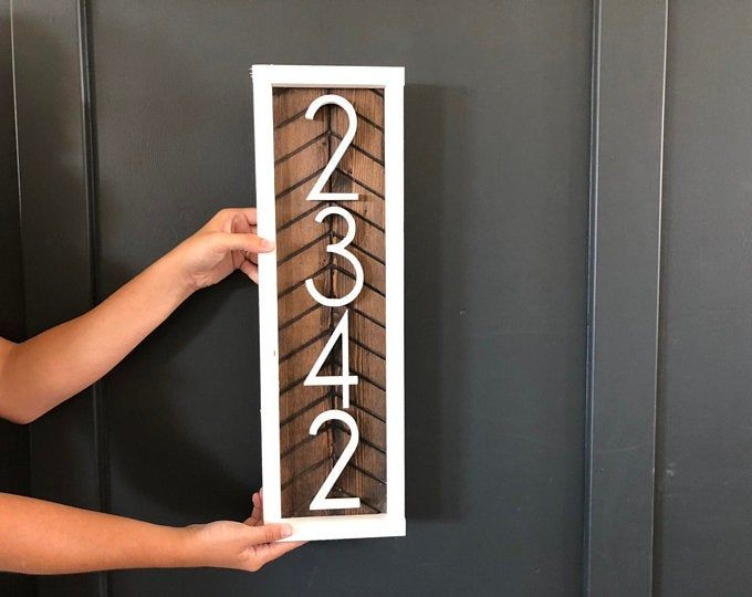Horizontal Address Sign Wood Address Home Sign Wooden Farmhouse Number Sign Porch Numbers Wall Art Home Decor Housewarming With Images Address Sign Herringbone Wood Address Plaque