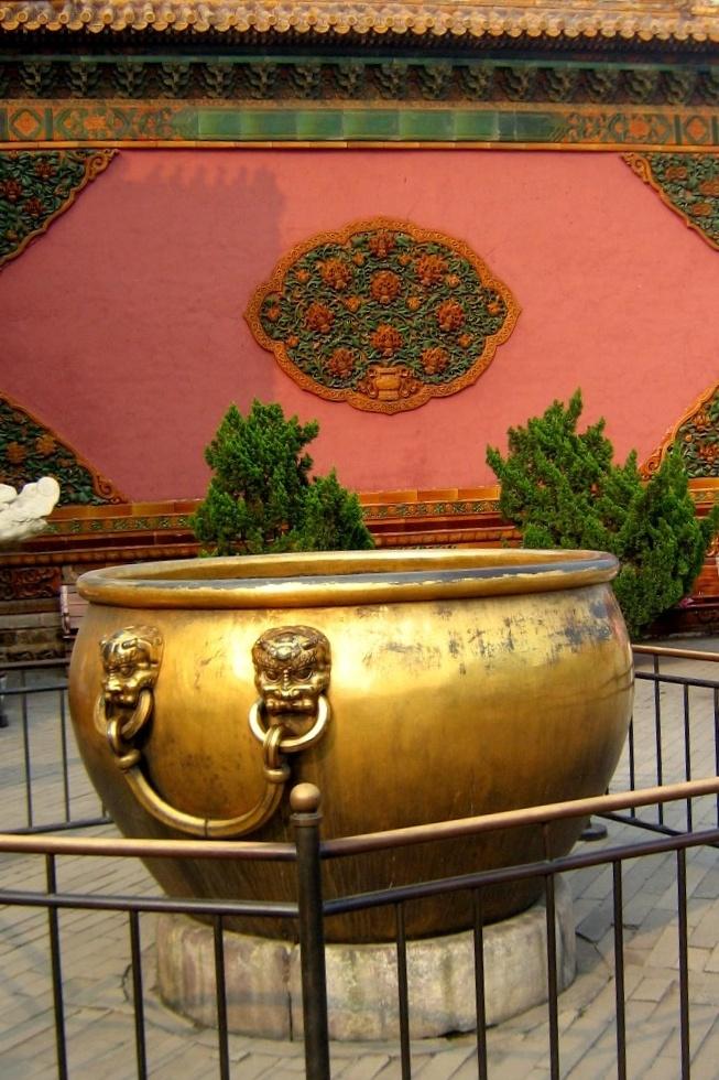 Beautiful gold gilded rain barrels in the Forbidden City in Beijing...