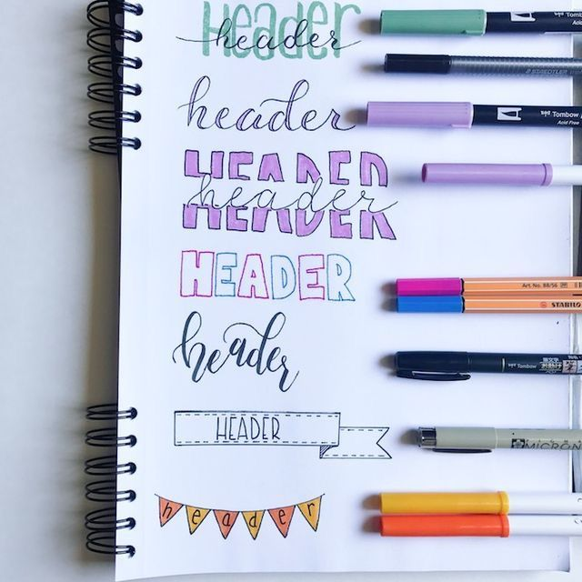 Header ideas. Bullet journal