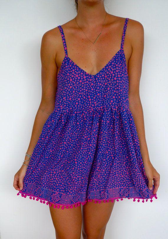 Pom Pom Jumpsuit / Playsuit, Short Beach Dress, Cobalt and Hot Pink Polka Dot Print Skort Shorts