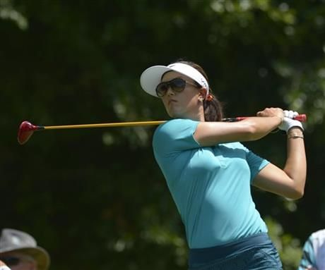 Michelle Wie hits her tee shot on the fifth hole in the second round of the Airbus LPGA Classic golf tournament at Magnolia Grove on Friday, May 23, 2014, in Mobile, Ala. (AP Photo/G.M. Andrews) ▼23May2014AP|Catriona Matthew leads Airbus LPGA Classic http://bigstory.ap.org/article/catriona-matthew-leads-airbus-lpga-classic-0