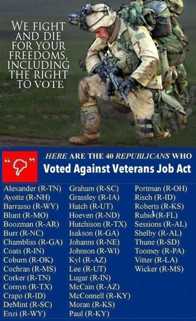 REFUSING to help our VETERANS find a job after RETURNING FROM WAR is an indication of how the REPUBLICAN SENATE really feels about our troops. You'll find MITCH McCONNELL and RAND PAUL on the list.