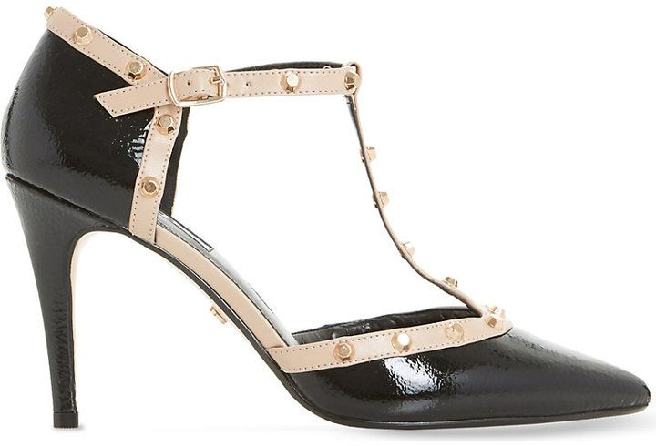 Dune Cliopatra studded patent-leather court shoes