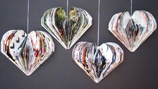 Valentine Heart Craft. Recycle magazine heart - Reduce. Reuse. Recycle. How to fold and cut an old magazine to make a heart. Looks beautiful hanging on a wall or a door all year long. They are fun for kids and adults... Cute and original craft for Saint Valentine, birthdays, parties and all special occasions!
