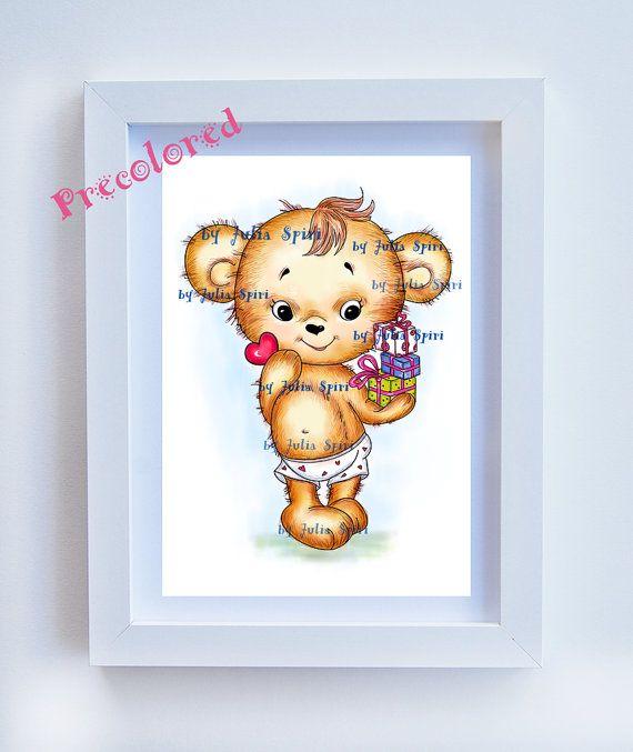 Teddy precolored Art girl download Children's Art by JuliaSpiri