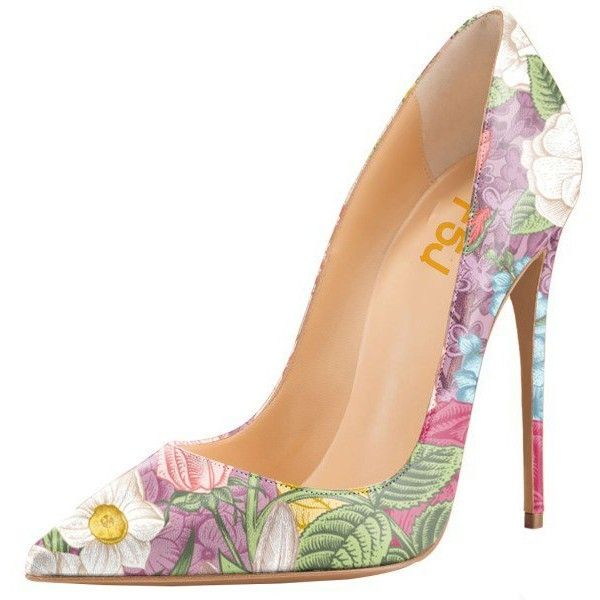Women's Romance Style Spring Floral Printed Pencil Heel Pumps (4,245 INR) ❤ liked on Polyvore featuring shoes, pumps, heels, обувь, zapatos, floral printed shoes, floral-print shoes, floral shoes, heel pump and flower print pumps