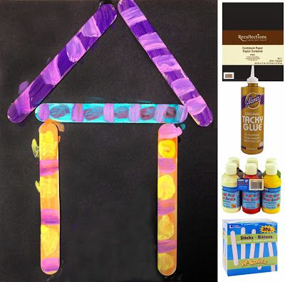 Art Projects for Kids: Early Kinder Painting Project. Glued sticks helped make easy lines to paint. Great practice to later learn to draw a house with the same shape. Budget for supplies from Michaels: $14.50 for class of 25.
