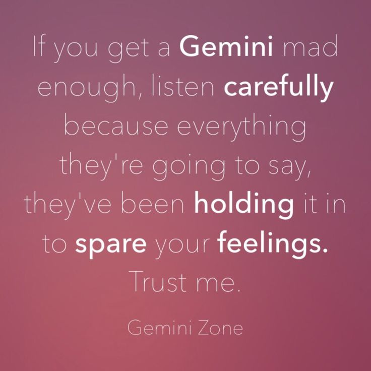 """If you get a Gemini mad enough, listen carefully because everything they're going to say, they've been holding it in to spare your feelings. Trust me."""