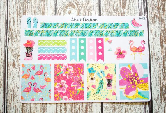 WK8: Tropical Glamour Weekly Kit planner stickers for Erin Condren Life Planner ECLP, Inkwell Press IWP, Day Designer, Emily Ley