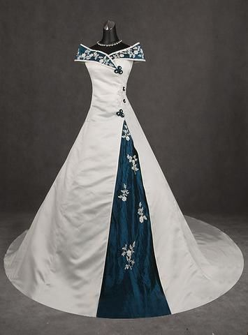 medevial style white blue inserts beach wedding dress gown