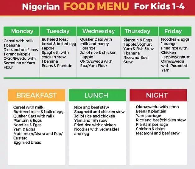 Nigerian Food Timetable For Kids Nigerian Food Kids Meal Plan Nigeria Food
