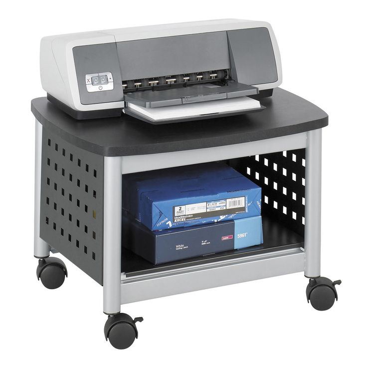 This Under Desk Printer Stand Mobile Office Cart In Black And Silver Is An  Easy Way To Free Up Desk Space And Keep Additional Printing Supplies Close  At ...