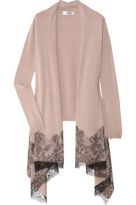 Valentino Lace-appliqued merino wool-blend cardigan. Exquisite black lace gives Valentino's merino wool-blend cardigan a signature romantic finish. In a beautifully understated dusty-rose hue, this softly draped style is the perfect coverup for any elegant event. Valentino cardigan: dusty-rose merino wool-blend, black lace appliques, long draped collar, long sleeves, open front, scalloped trim at lace, ribbed trims. Slips on. Fabric1: 70% merino wool, 20% silk, 10% cashmere; fabric2: 70%…