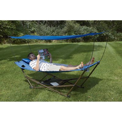 EZ Stow Portable Hammock with Canopy — Blue Repeat Print
