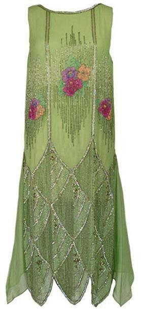 1920 vestido verde con cuentas