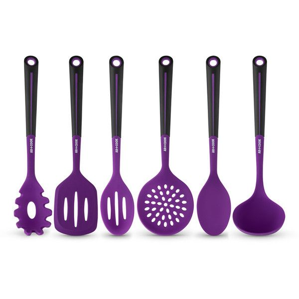 Art and Cook Silicone Utensil Set ($19) ❤ liked on Polyvore featuring home, kitchen & dining, kitchen gadgets & tools, purple and silicon utensils