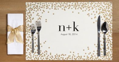 Gold Confetti Personalized Placemats - Paper Source