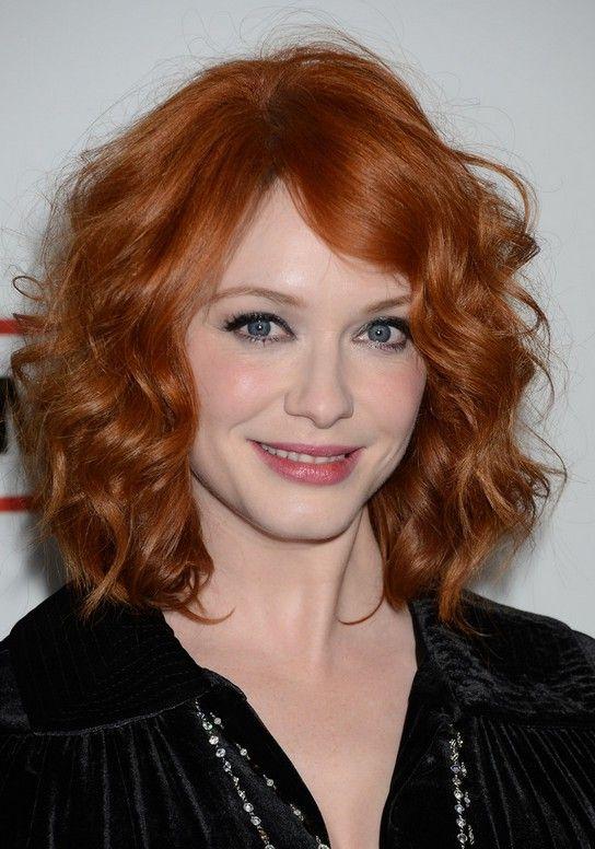 Christina Hendricks Medium Red Curly Hairstyle For Mature