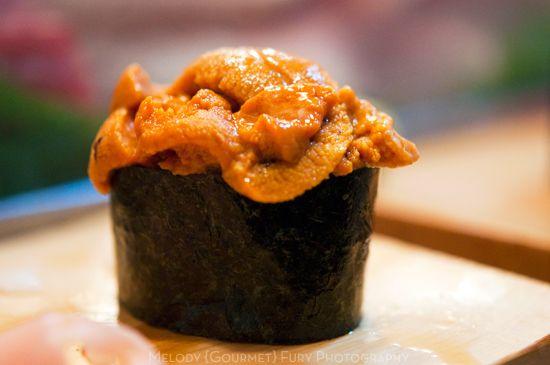 Uni sea urchin nigiri at Daiwa Sushi Restaurant at Tsukiji Market in Tokyo Japan by Melody Fury Photography. Food, Drink, Restaurant Photographer and Writer in Vancouver BC and Austin TX