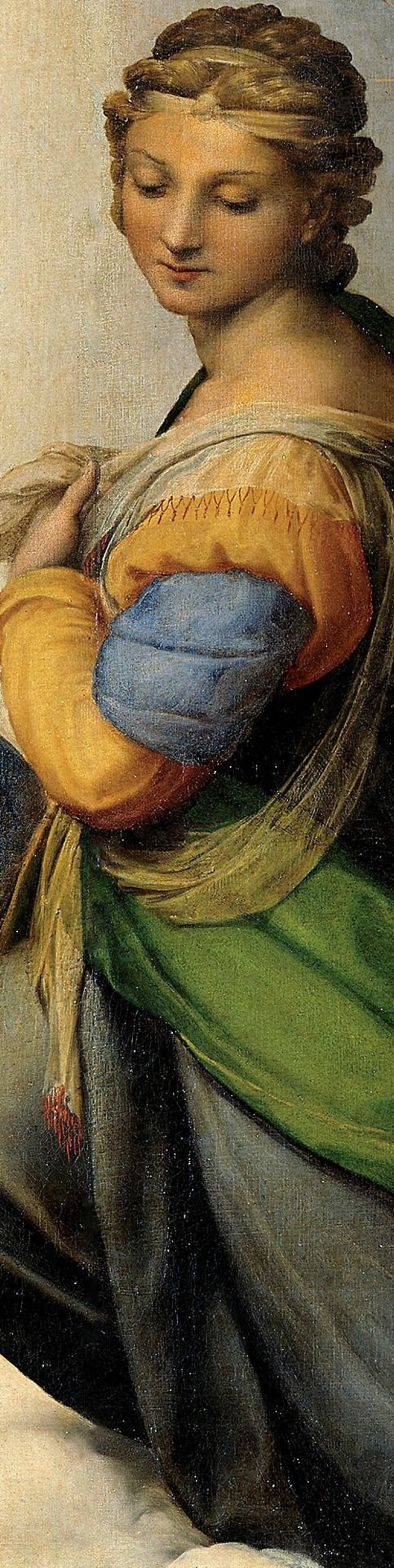 "Detalle de la ""Madonna"" de la Sixtina de Rafael (1513-14)"