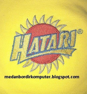 bordir di kaos untuk logo HATARI.