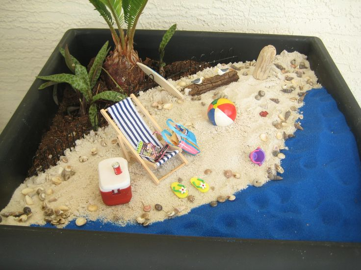 Beach scene ~ I took out the broken glass chips and added sand instead.  Mini seashells added. Designed and constructed by Jerri.