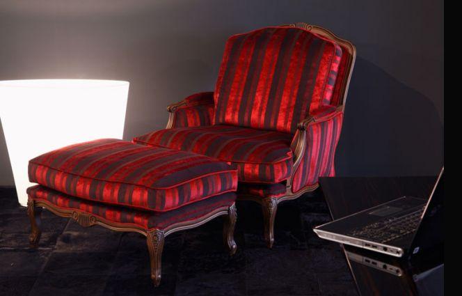 Louis Chair & Ottoman - Medium oak stain frame and eiderdown cushions