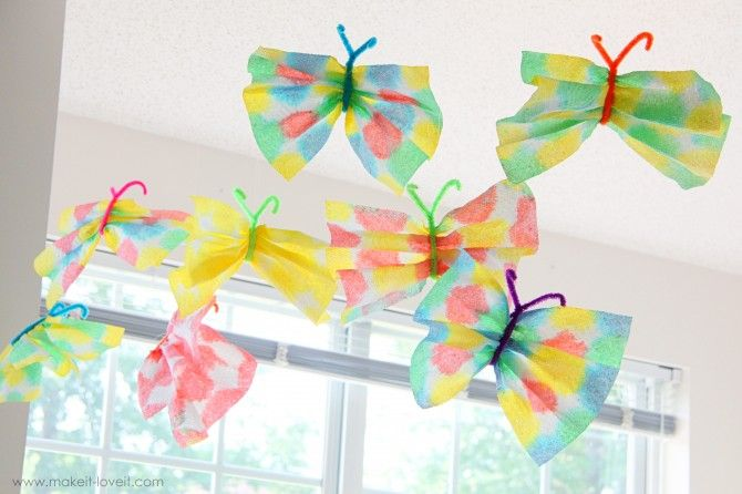 Paper Towel Butterflies -- cute spring craft idea for The Very Hungry Caterpillar Day.