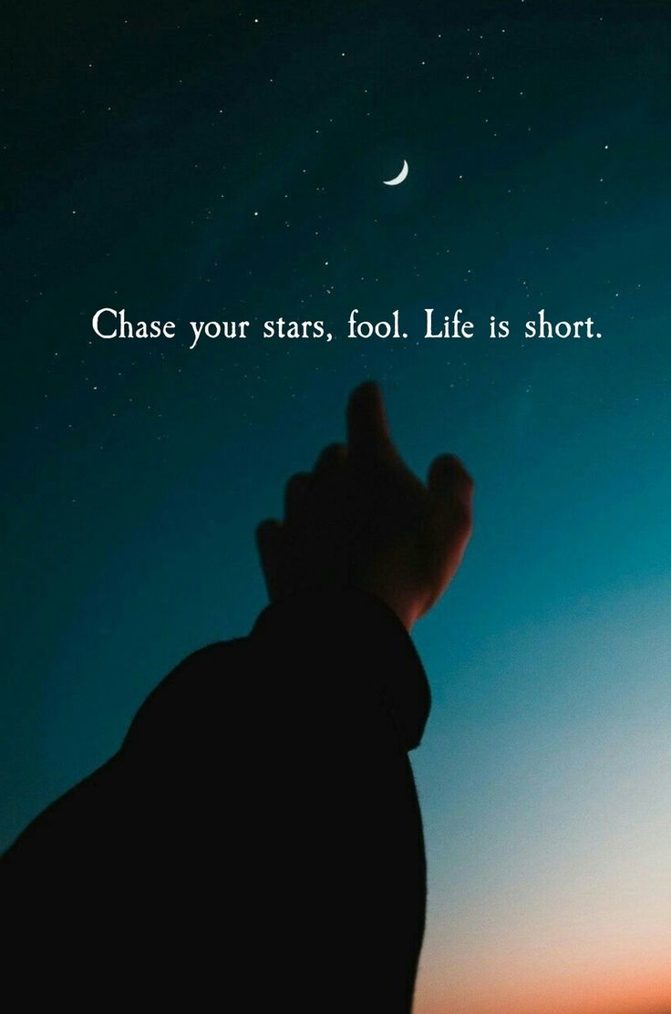 Chase your stars, life is too short.