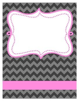 Free Chevron Binder Cover, Black and Pink