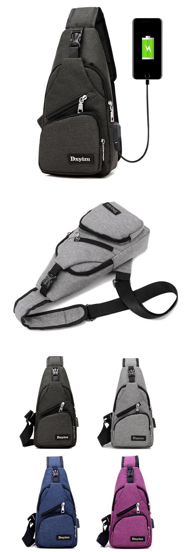 Men Casual Sling Bag Outdoor Travel Chest Shoulder Crossbody Bag with USB Port Unique Backpacks, Travel Bags, Mens Travel Bag, Online Bags, Handbag Accessories, Purses And Bags, Crossbody Bag, Men Casual, Man Shop