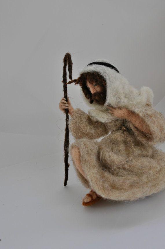 Needle felted Nativity Waldorf Good shepherd. by darialvovsky