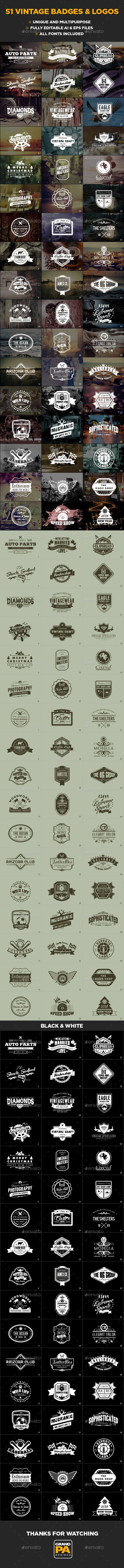 51 Vintage Badges and Logos Templates Vector EPS, AI. Download here: http://graphicriver.net/item/51-vintage-badges-and-logos/15348120?ref=ksioks