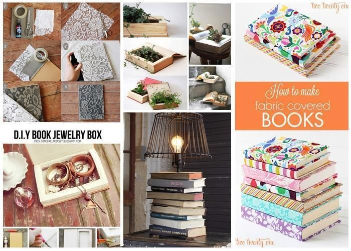 Remove dust from your old , damaged books and make something new and useful! Check out this creative book crafts! You can make jewelry box , lamp, shelves,