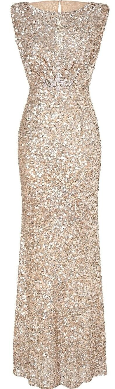 Champagne/gold sequin bridesmaid dress! 1920s old Hollywood glam!