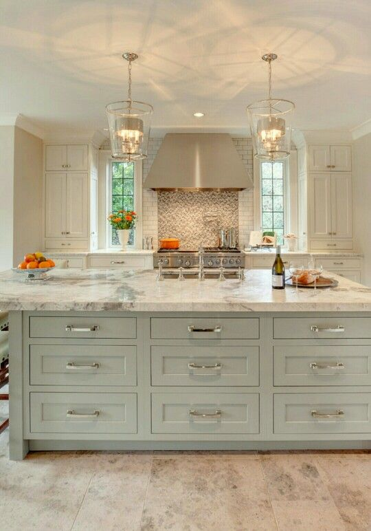 Houzz Island Color Transitional Kitchenmarble Countertopsgranite