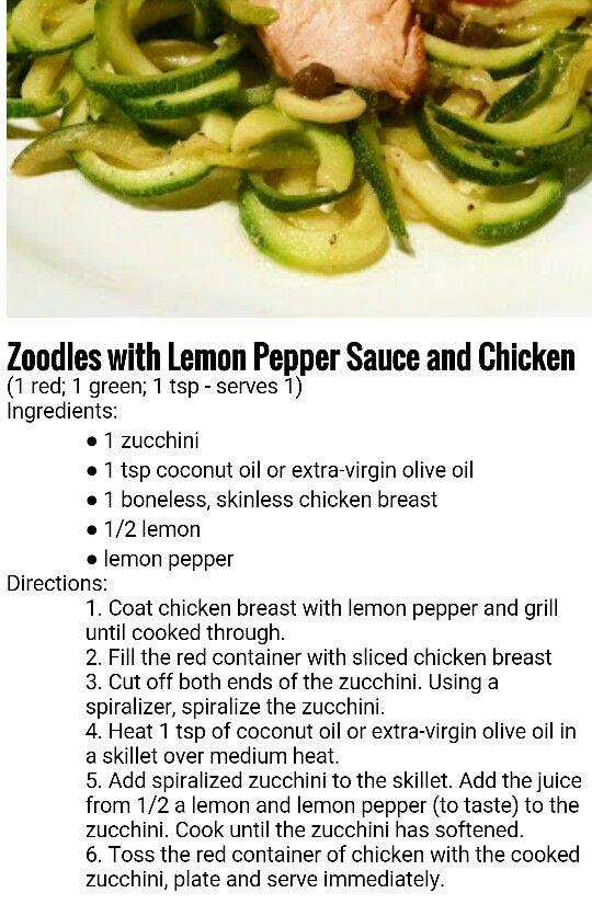 21 day fix Zoodles & lemon pepper sauce chicken 1 red, 1 green, 1 tsp