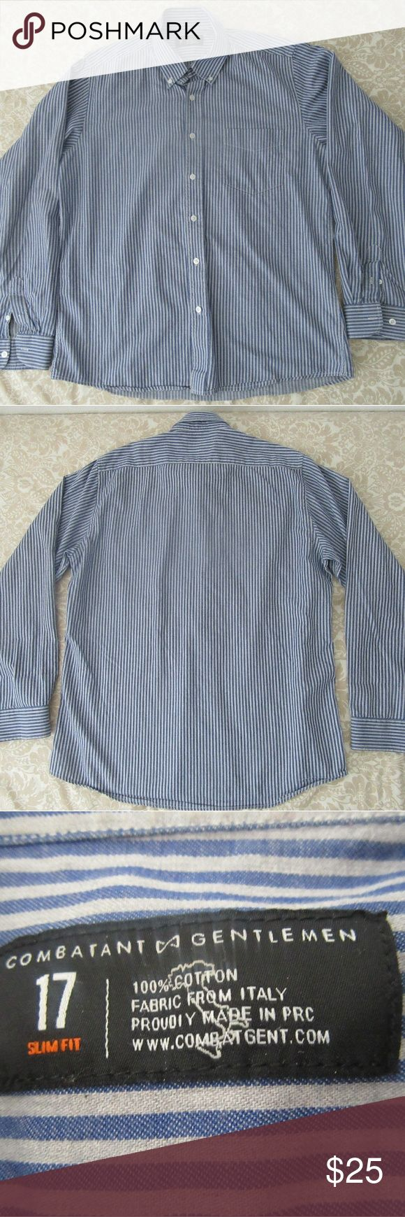 combatant gentleman striped long sleeve button up great shape  combatant gentleman striped long sleeve button up shirt sz 17 slim fit   pit to pit 23  shoulder to cuff 25  top to bottom 30  shoulder to shoulder 18 Shirts Dress Shirts
